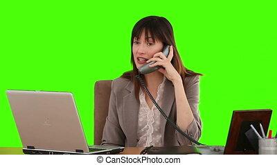 conversation, téléphone, complet, femme affaires