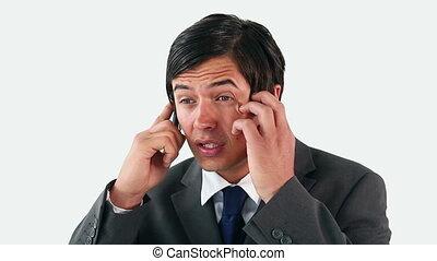 conversation, téléphone, homme affaires, triste