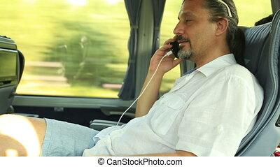 conversation, téléphone, homme, autobus