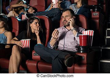 conversation, téléphone, homme, films