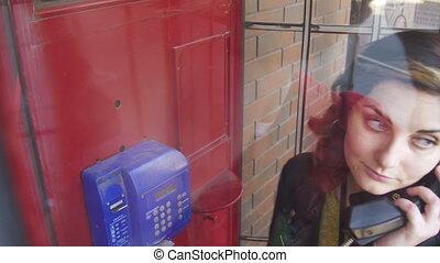 conversation, téléphone, téléphone, rue, cabine, girl, rouges, heureux