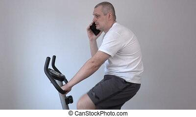conversation, téléphone, vélo, exercice, utilisation, intelligent, homme