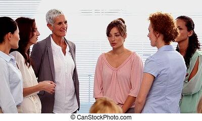 conversation, t, ensemble, femmes affaires