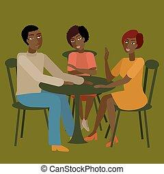 conversation., tendo, família, africano