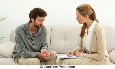 conversation, thérapeute, jeune homme, sien