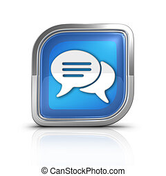 Conversation Time Blue Icon Sign