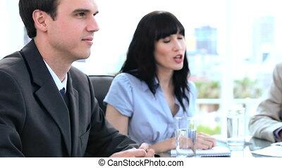 conversation, travail, heureux, ensemble, équipe
