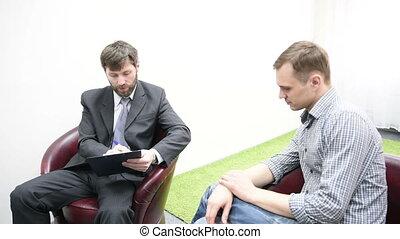 conversation, triste, jeune homme, psychologist.