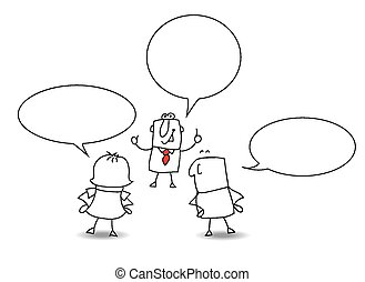 conversation - two businessmen and a businesswoman are ...