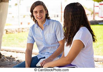 conversation, type, séduisant, girl