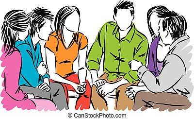 conversation, vecteur, groupe, illustration, gens