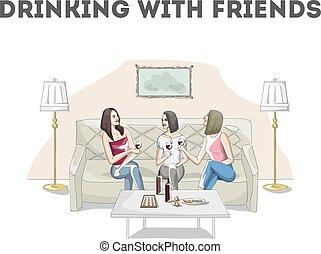 conversation, vin buvant, femmes, restaurant