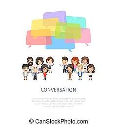 Conversation with Colorful Speech Bubbles - Conversation...