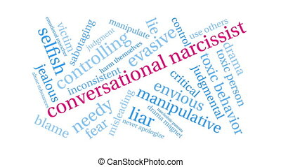 conversationnel, narcissist, mot, nuage