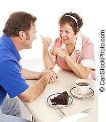 conversations, client, serveuse