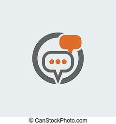 conversazione, bolle, gray-orange, rotondo, icona