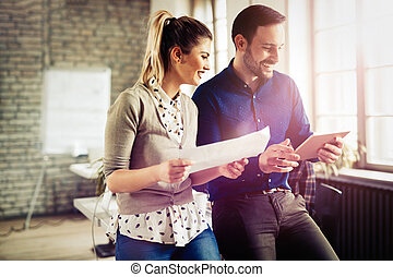 conversazione, colleghi, posto lavoro, coworking, detenere