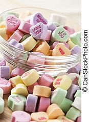 conversazione, colorito, cuori caramella