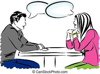 conversazione, coppia, b, illustrazione