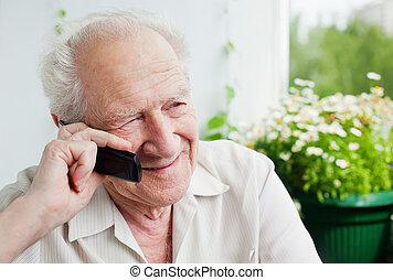 conversazione, godere, vecchio telefono, uomo