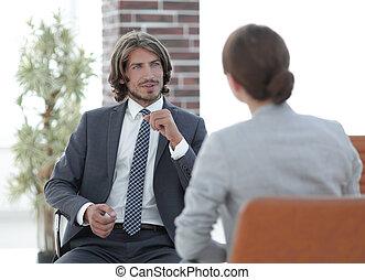 conversazione, rilassato, donna, ufficio, uomo