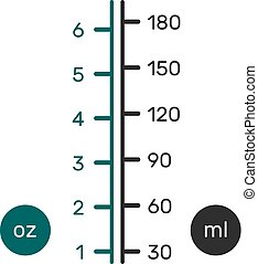conversión, escala, líquido, métrico, nosotros, oz), (ml), (fl, onzas, (chart)