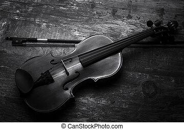 conversión, negro, artístico, violín, iluminación, blanco,...
