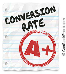 conversión, tasa, grado, papel rayado, exitoso, ventas,...