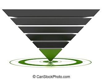 conversión, utilizado, mercadotecnia, encima, embudo, ...