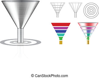 Conversion funnel with a target. Vector set illustration