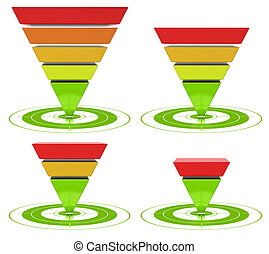 conversion funnel with customizable inversed pyramid over a white background