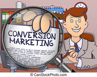 Conversion Marketing through Magnifying Glass. Doodle Design.