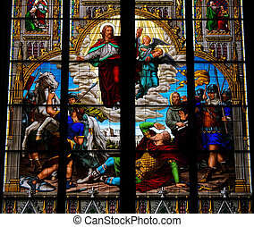 Conversion of Saint Paul, stained glass window in Dom of Cologne, created in 1847