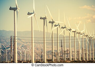 Conversion of Wind Energy. Wind Turbines at Coachella Valley...