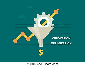 Conversion optimization banner in flat style - vector...