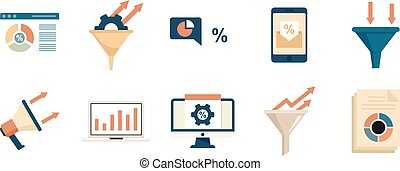 Conversion rate icons set flat vector isolated