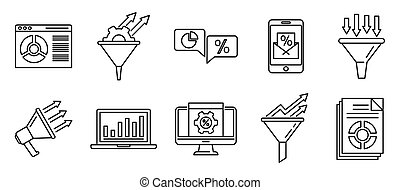 Conversion rate marketing icons set, outline style