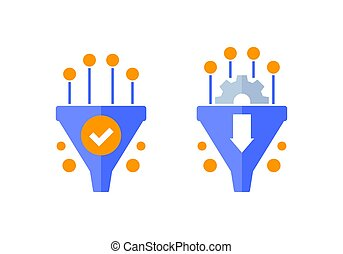 Conversion rate optimization icons, sales funnel