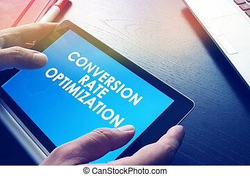 conversion, report., taux, optimization, tenue, homme