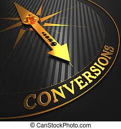 conversions, złoty, handlowy, -, needle., tło., busola