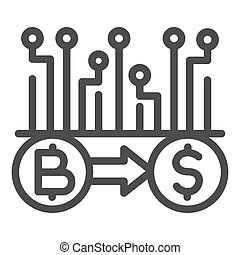 Convert Bitcoin to dollar line icon, Cryptocurrency technology concept, bitcoin exchange, bitcoin mining sign on white background, Currency conversion icon in outline style. Vector graphics.