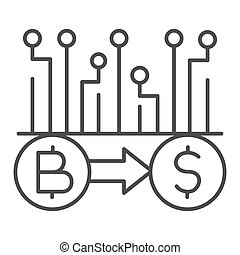 Convert Bitcoin to dollar thin line icon, Cryptocurrency technology concept, bitcoin exchange, bitcoin mining sign on white background, Currency conversion icon in outline style. Vector graphics.