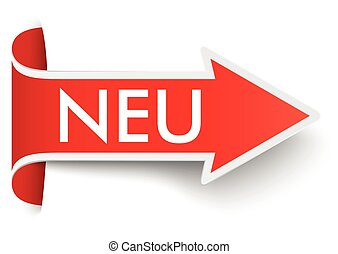 Convert Red Arrow Banner Neu - Red arrow with german text...