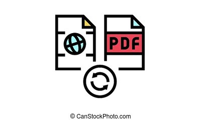 convert web site page to pdf file animated color icon. convert web site page to pdf file sign. isolated on white background