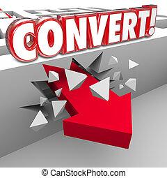 converti, vente, mot, clients, par, flèche, labyrinthe, 3d