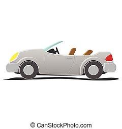 convertibile, -, cartone animato, illustrazione
