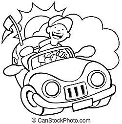 Convertible Car Line Art