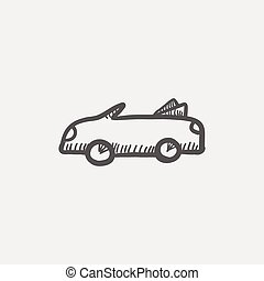 Convertible car sketh icon