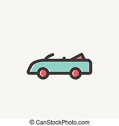 Convertible car thin line icon