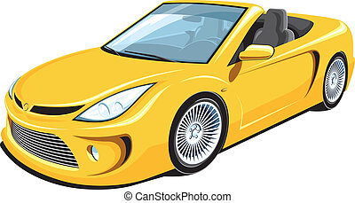 Convertible car - Vector isolated yellow convertible car on...